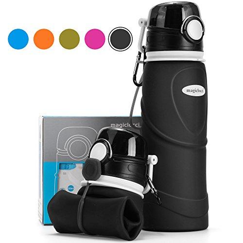 Collapsible Water Bottle 750ml / 26 fl oz (Reusable Foldable Silicone) Travel Bottle (Vacuum Sealed Leak Proof Valve) Sports Camping Hiking Gym Fitness Training Bottle (BPA Free / Non-Toxic) (Black)