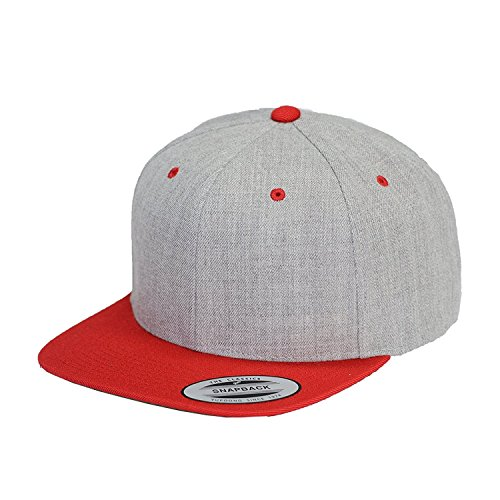 (Yupoong 6089M Classic Snapback Pro-Style Wool Cap by Flexfit, Heather/Red, One Size)
