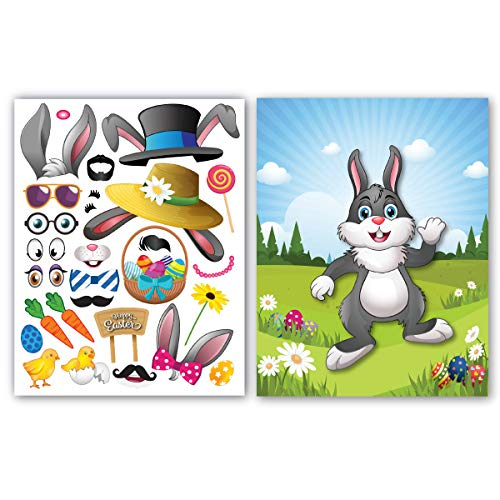Colonel Pickles Novelties Easter Stickers - Make A Bunny Set of 12 Easter Crafts for Kids Basket Stuffers ()