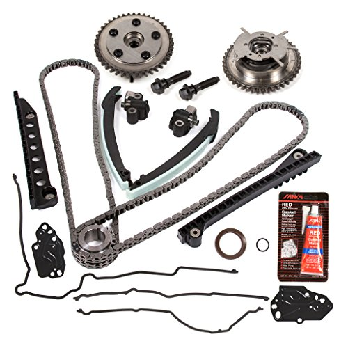 Evergreen TKTCS6068G 04-08 Ford F150 F250 Lincoln Navigator TRITON 5.4 SOHC 3-Valve Timing Chain Kit Cam Phaser Timing Cover Gasket