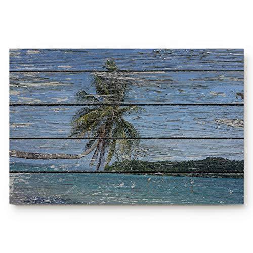 OUR WINGS Wood Grain Palm Tree Welcome Doormats Rubber Non-Slip Floor Mat Rugs for Entrance Way/Indoor/Front Door/Bathroom/Kitchen, Shoe Scraper Carpet 20