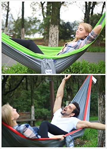 Hammock – Camping Double Hammock- Portable Parachute Nylon Hammock With Tree Straps & Alloy Carabiners For Backpacking Garden, Backyard,Hiking &Traveling(GREEN/GREY, DOUBLE)