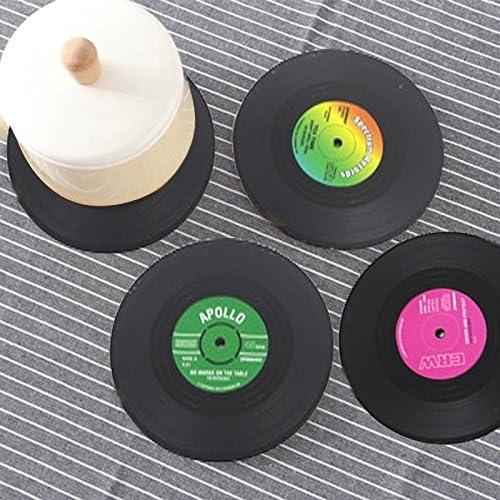 6 pcs/set Retro negro vinilo CD Record beber posavasos mesa taza mate – imagen café bebida Placemat vajilla Spinning diámetro: 10.7 cm: Amazon.es: Hogar