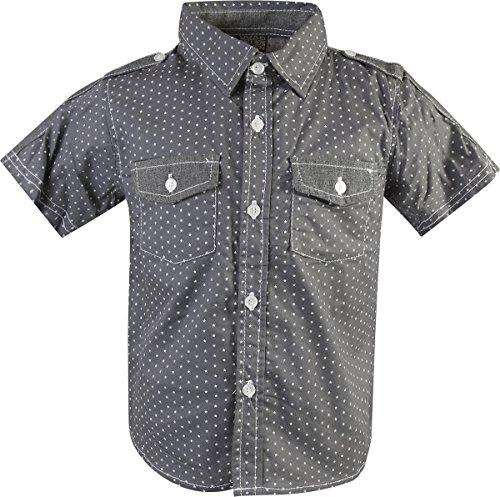 Quad Seven Little Boy's 3-Piece Short Sleeve Woven Shirt, Tee, and Denim Pant Set, Charcoal/Black, Size 7' by Quad Seven (Image #1)