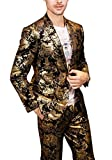 MOGU Mens Luxury Gold Suits 2-Piece Set US Size 40 (Asian XXL) Gold