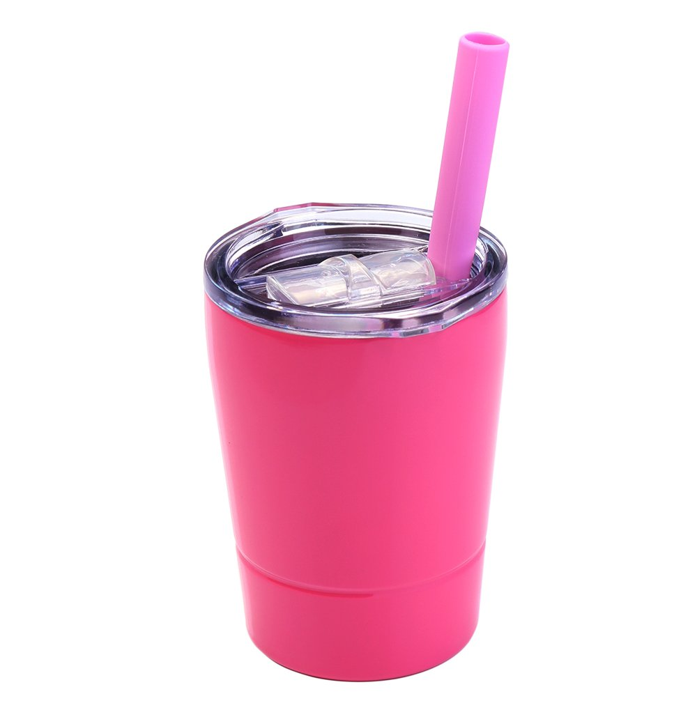 Colorful PoPo Kids Stainless Steel Cup Lovely Small Rambler Tumbler with Lid and Silicone Straw, 8.5 OZ (1, Rose Red)