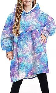 Homemari Winter Hooded Sweatshirt for Children, Wearable Blanket Fleece