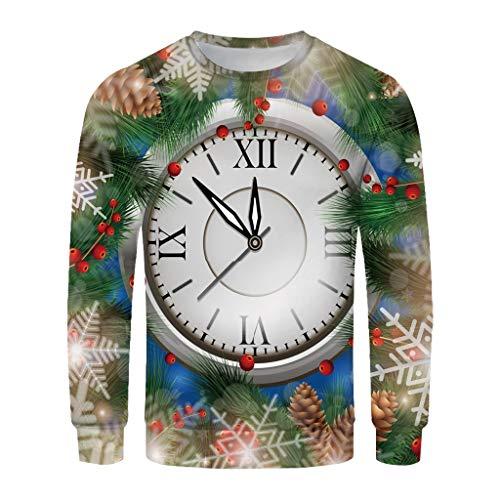 Sanyyanlsy Men's Christmas 3D Printed T-Shirt Long