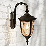 Bellagio Outdoor Wall Light Fixture Bronze 16 1/2'' Hammered Glass Sconce for House Deck Patio Porch - John Timberland