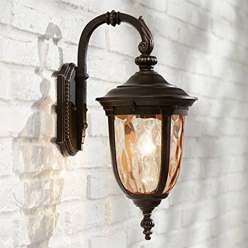 Bellagio Outdoor Wall Light Fixture Bronze 16 1/2 Hammered Glass Sconce for House Deck Patio Porch - John Timberland