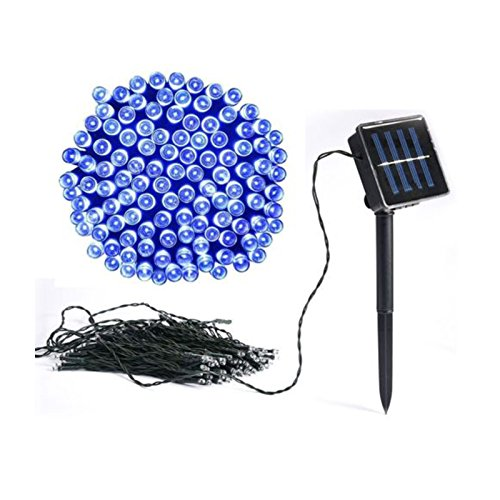 100 Blue Solar Powered Led Outdoor String Fairy Lights in US - 4