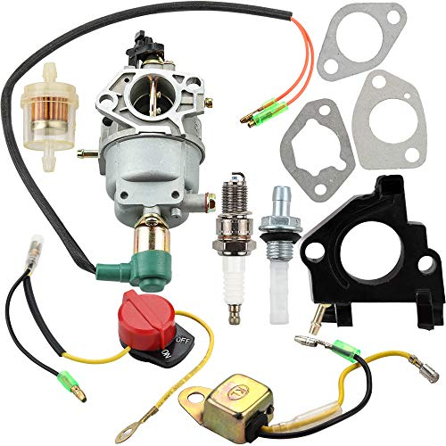 - Leopop Carburetor with Gasket Spark Plug Fuel Filter for Honeywell HW5500 HW5000E HW6200 100924A 100925A 6036 6037 6151 5500 6875W 337cc 389cc Generator Stop Switch Parts Kit