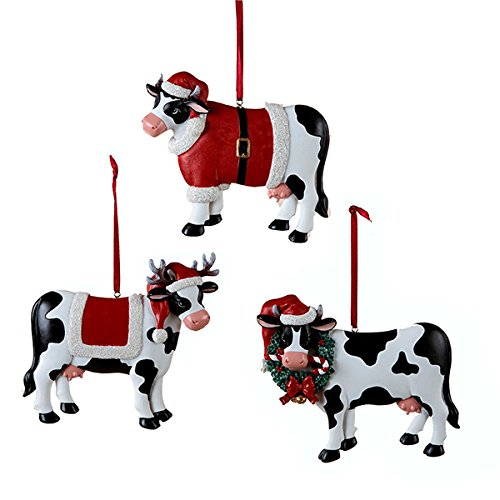 Christmas Cow Ornament 3 Assorted by Country -