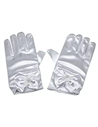 RUNHENG Flower Girl Stretchy Satin Bowknot Wrist Length Gloves, 16cm (White)