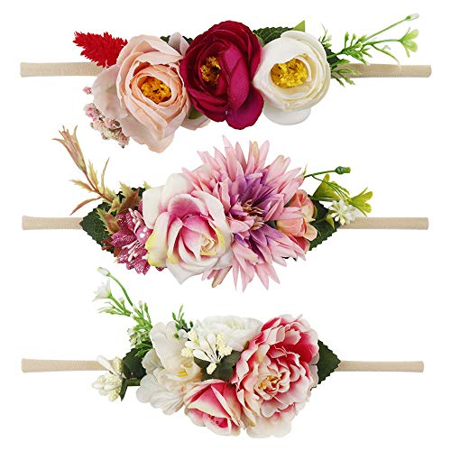 Floral Headbands For Baby Girls Lightweight Flower Nylon Elastic Hair Band For Newborn Infant Toddler (3 Pcs Nylon Floral Headbands) -