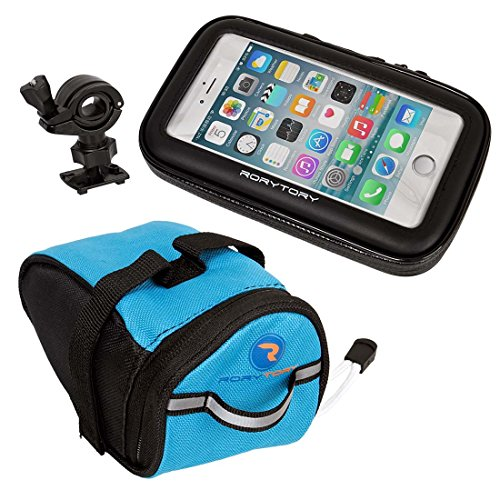 RoryTory 3pc Weather Resistant Bike Mount Phone Case for iPhone 6+ or Simular Size with Under Seat Bag Pouch - Plus Size ()