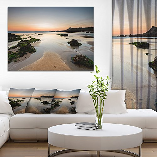 Design Art PT9417-40-20 Gueirua Beach In Spain Seashore Photography Canvas Print,Green,40x20 by Design Art