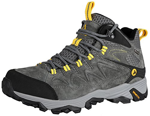 HUMTTO Outdoor Mens Lightweight Non-Slip Breathable High-Top Leather Trekking Hiking Boots GR13 -