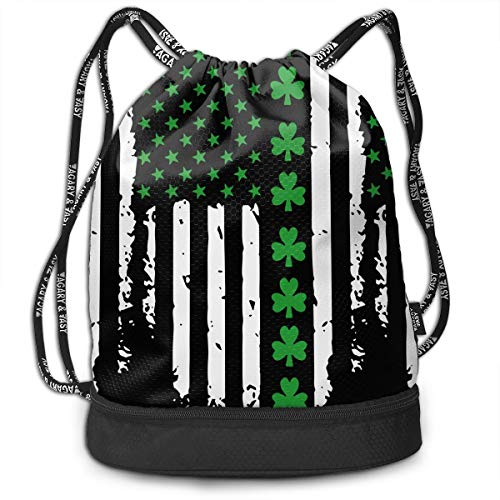St. Patrick's Day Irish American Flag Drawstring Bag Multifunctional String Backpack Custom Cinch Backpack Rucksack Gym Bag ()