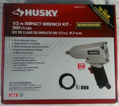 Husky 1/2 Inch Impact Wrench Kit - 300 Ft -LBS Air Tool W/ 25'' of hose sockets, coupler by Husky