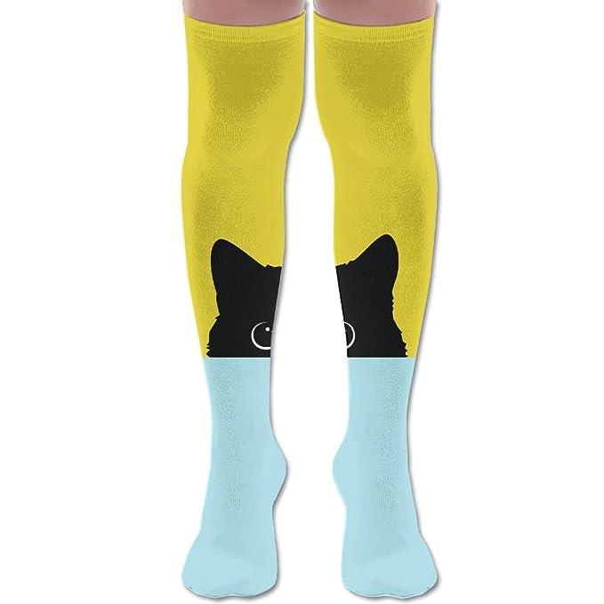 72d10000837 Hide Black Cat Unisex Knee High Long Socks Stockings Dress Athletic Socks  Elasticity at Amazon Women s Clothing store