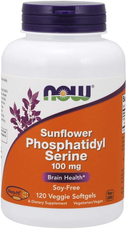 NOW Supplements, Sunflower Phosphatidyl Serine 100 mg, Derived from Non-GMO Sunflower Lecithin, 120 Veggie Softgels