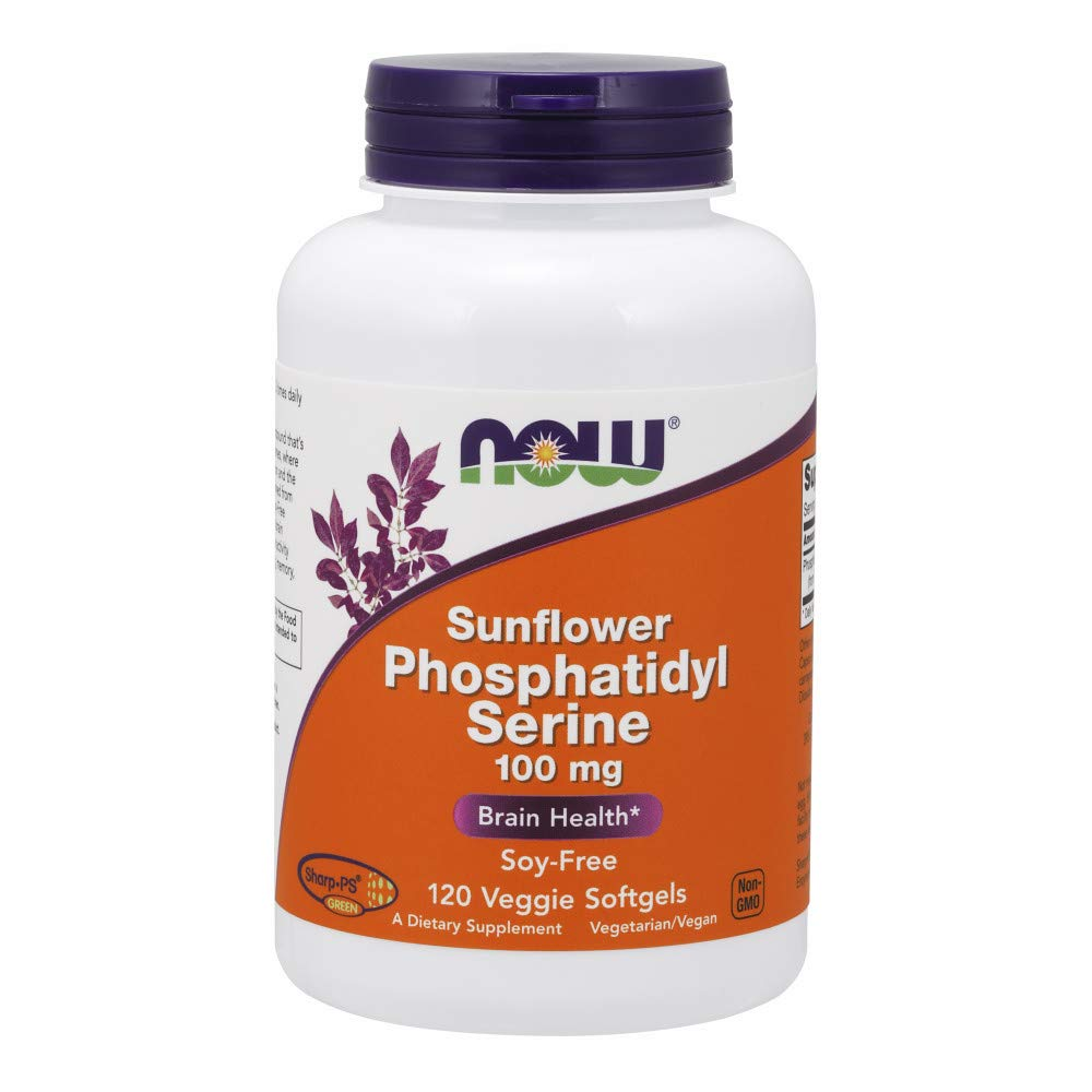 Now Supplements, Sunflower Phosphatidyl Serine 100 mg, Derived from Non-GMO Sunflower Lecithin, 120 Veggie Softgels by NOW Foods