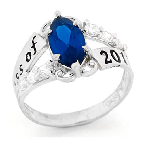 10k White Gold Simulated Birthstone 2019 Class Graduation Ring