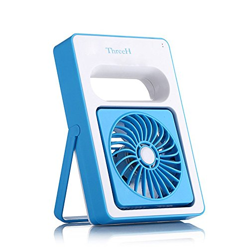 ThreeH Rechargeable USB Mini Personal Household Desktop Fan for Home H-DL001Blue by ThreeH
