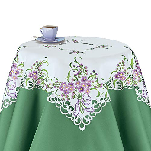 (Collections Etc Delicate Wildflower Cutout Table Linens with Scalloped Edges - Seasonal Decor and Tabletop Accent, Square)