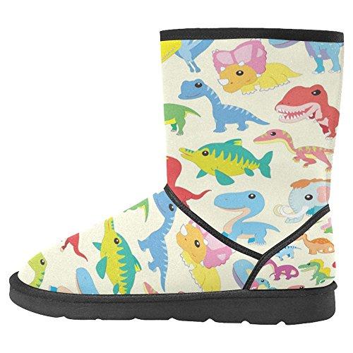 Snow Stivali Da Donna Di Interestprint Design Unico Comfort Invernale Stivali Adorabili Cartoon Dinosaur Collezioni Multi 1