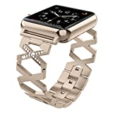 Wearlizer Compatible Apple Watch Bands 38mm Womens Mens iWatch Straps Rhinestone Wristbands Stainless Steel Replacement Fashion Bracelet, Metal Hand Removal Links, Series 3 2 1 Edition-Champagne Gold
