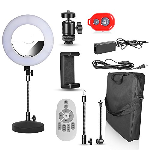 Emart 14 inch Bi-color LED Table Top Ring Light with Stand – Remote Control Revolution, SMD LED Dimmable & Color Temperature Adjustable Circle Makeup Lighting Kit for Photo Video Studio Portrait Shoot by EMART