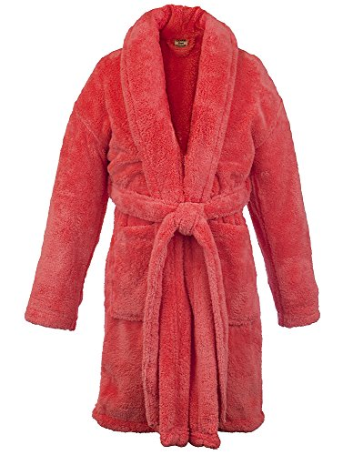BC BARE COTTON Bare Cotton Kids Microfiber Fleece Shawl Robe - Girls (X-Large (Ages 13-15), Coral) -