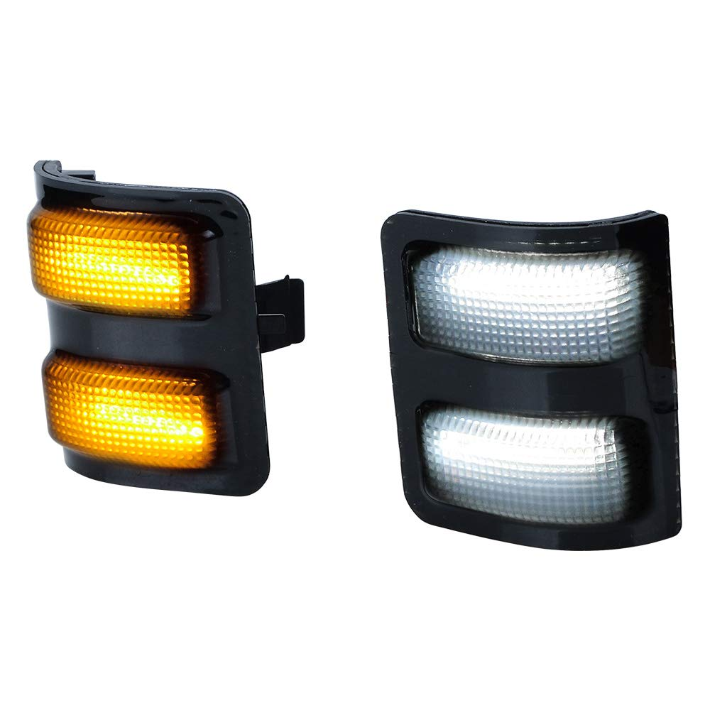 Left Right Switchback White Parking Amber Turn Signal LED Side Mirror Marker Lights Compatible with Ford F250 F350 F450 Super Duty 2008-2016