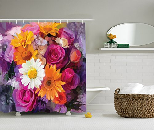 Ambesonne Watercolor Flower Decor Collection, Lovely Flower Bouquet with Rose Daisy Gerbera Floral Design, Polyester Fabric Bathroom Shower Curtain Set with Hooks, Purple Orange