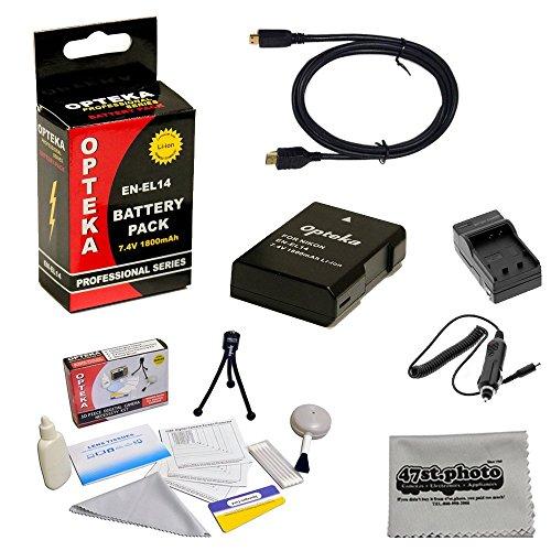 Replacement Battery Kit for Nikon D3100 D3200 D5100 D5200 COOLPIX P7100 P7700 Digital SLR Camera – Includes ENEL14 1800mAh Rechargable Battery, Rapid AC/DC Charger, HDMI cable, Opteka Digital Camera Cleaning Kit and Cleaning Cloth