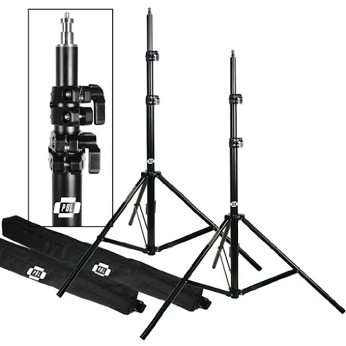 Light Stands PRO Heavy Duty 7'6'' Set of Two, with All Metal Locking Collars NOT Plastic by PBL by PBL