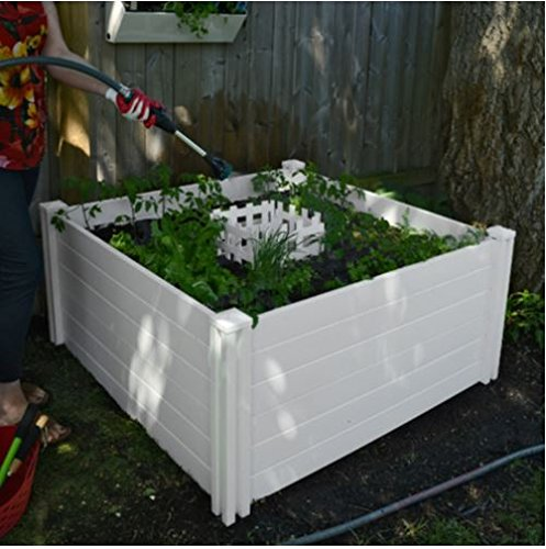Keyhole 4' x 4' Compost Garden Bed, Made with Vinyl, Ensure That Easy to Use and Easy to Clean, Compost is Rich in Nutrients That's Perfect for Plants.