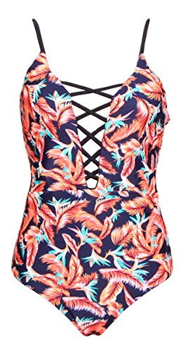 2d894aadffa One Pieces Solid Floral Pin Up Sexy Women Front Strappy Cross Swimwear,  Black Orange, Plus Size (Medium / 4-6)