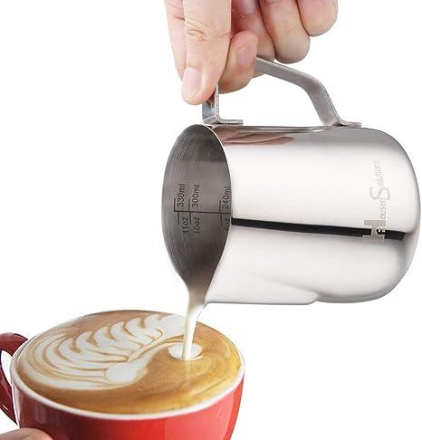 300ml Leche de Cero Inoxidable de Espesor Leche de Jarra Latte Taza de Caf/é Jarra Jarra de Leche Leche de Jarra Apta Para Espresso Latte Art y Leche