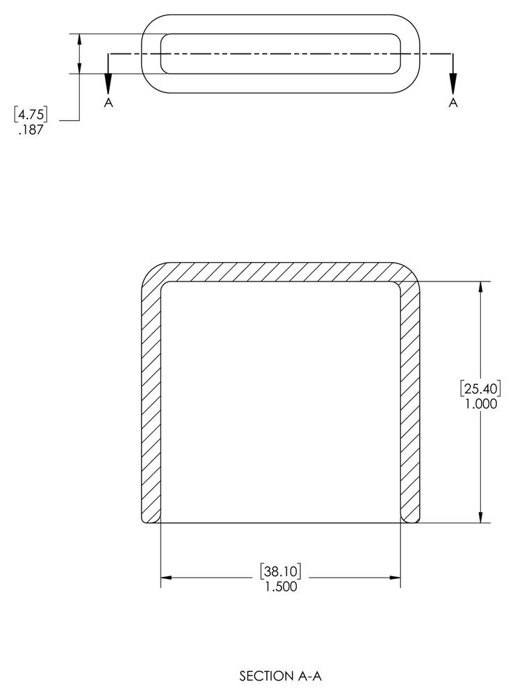 Caplugs 99390528 Plastic Rectangular Finishing Cap with Flat End Grip Length 1.000 ID 1.500 Black Vinyl VRF-187X1500-16 Pack of 40