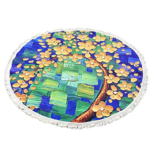 Amiley Bohemian Tree Flower Round Tassel Hippie Tapestry Beach Picnic Throw Yoga Mat Towel Blanket Cool (Yellow)]()