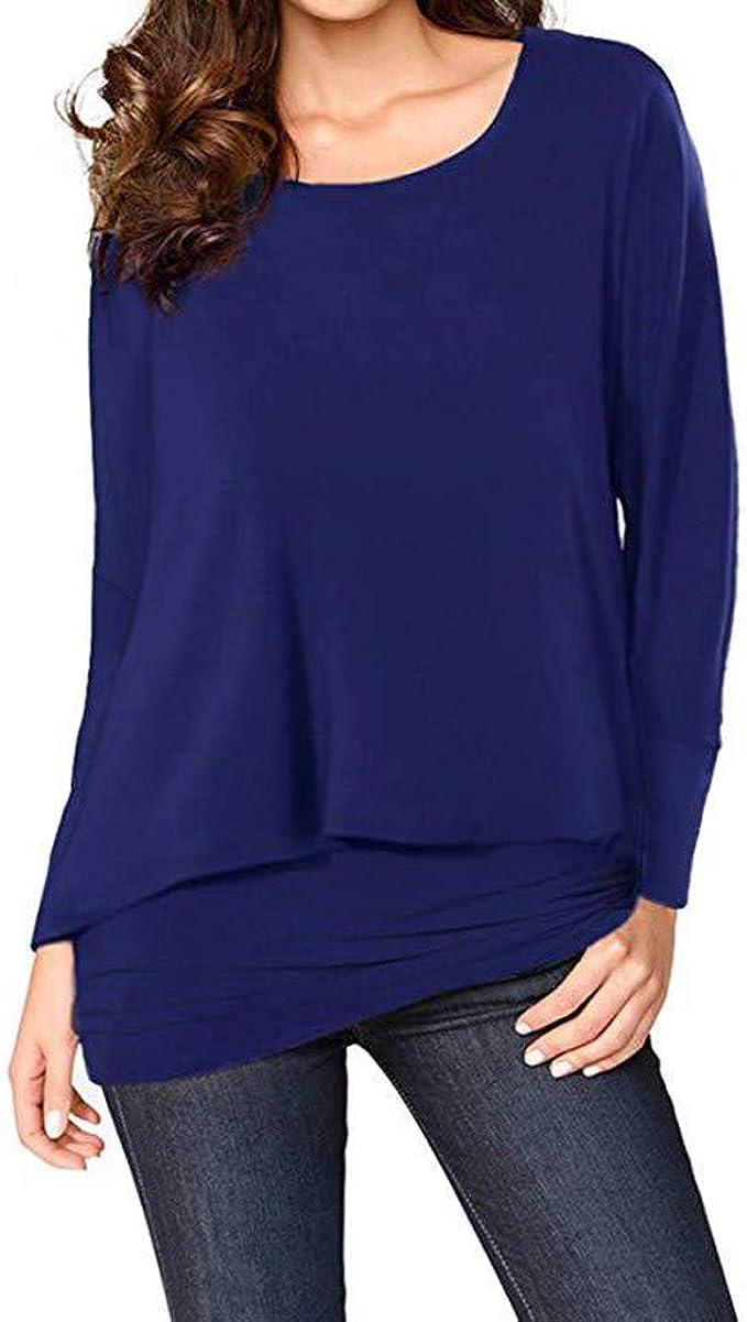 Damen Langarm T-Shirt Bluse Rundhals Longsleeve Shirts Tops Oberteil Tunika 42