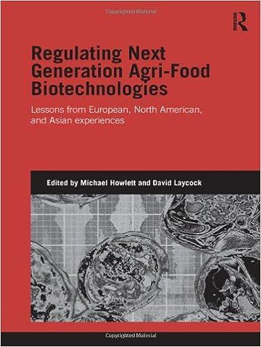 regulating next generation agri food biotechnologies howlett michael laycock david