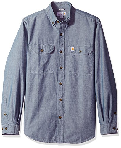 Carhartt Men's Fort Long Sleeve Shirt Lightweight Chambray Button Front Relaxed Fit,Denim Blue Chambray,Small