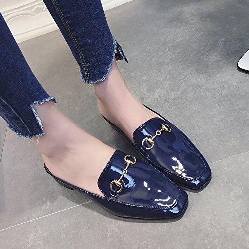 Qingchunhuangtang Blu ossa metà lazy Baotou pantofole pantofole scuro pantofole Svqw6SUr