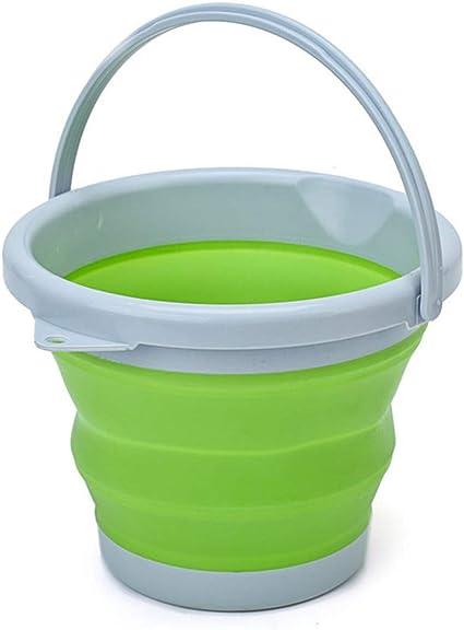 Cubo de silicona plegable de 10 litros de silicona para la limpieza de camping, pesca, cocina, 10 litros, cubo para el hogar en baya, verde, 10 l ...