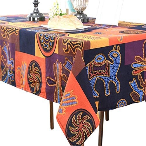 (Sandweek Vintage Mayan Culture Printed Pattern Decorative Macrame Lace Tablecloth Washable Dinner Picnic Cotton Linen Fabric Decorative Table Top Cover (55 Inch x 79 Inch))