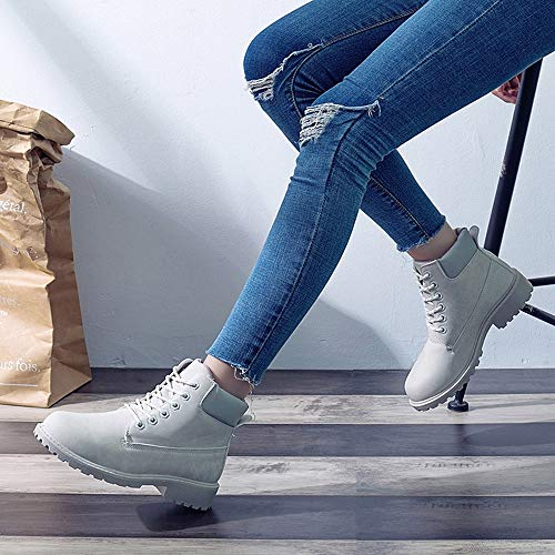 41 sonnena Plates boots Chaussures Impermeables 36 Hiver Femme bottines Taille Bottes Cuir classiques Velours Automne Chaude Fourrées Chaussure bottines Lacer Femmes Courtes Gris Casual qC5x1Fw1v